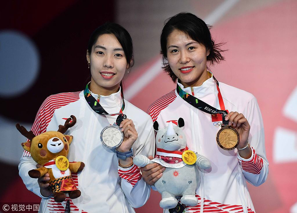 我校毕业生钱佳睿(右)在雅加达亚运会中斩获女子佩剑金牌.